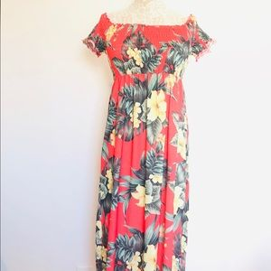 A S O S. Floral Shoulders Off Maxi Dress